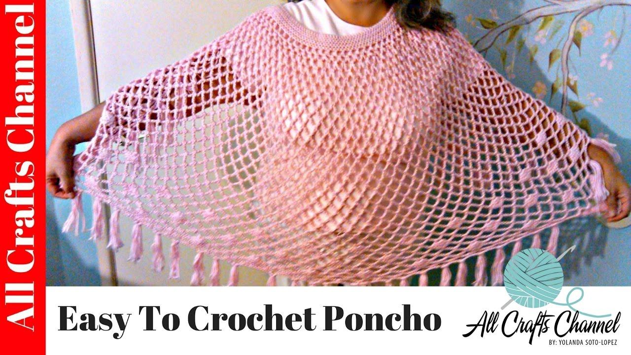 Easy To Crochet Poncho Susbtitulos En Espa 241 Ol Youtube