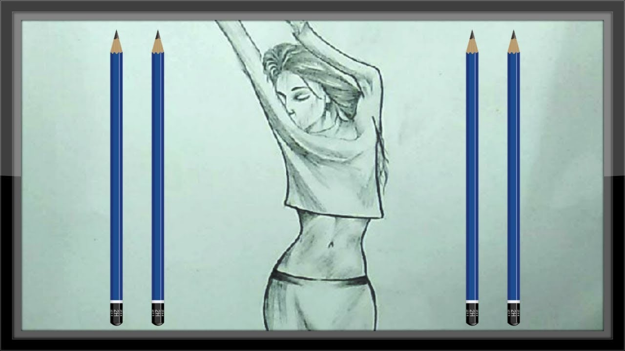 Cool Drawings Pencil Drawing A Beautiful Girl Picture Easy Youtube