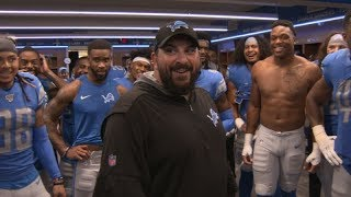 Lions vs. Chargers: Locker Room Celebration