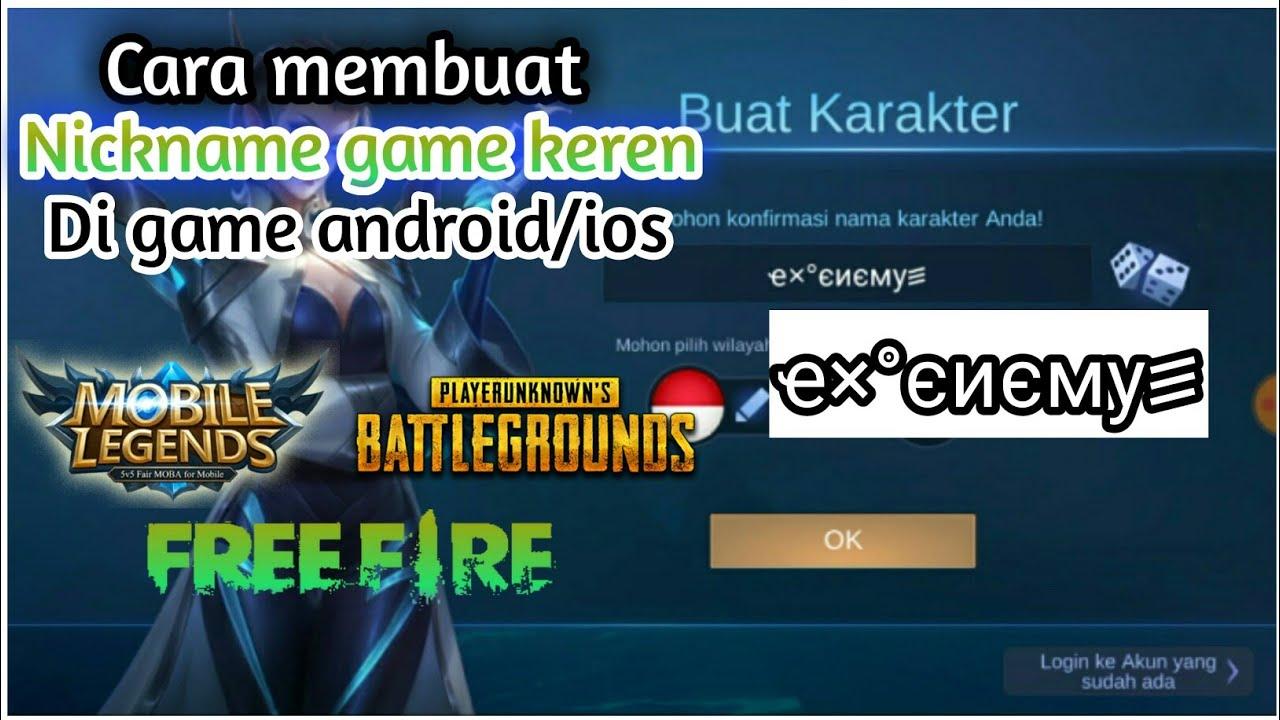 Cara membuat nickname game keren di game mobile legends ff ...