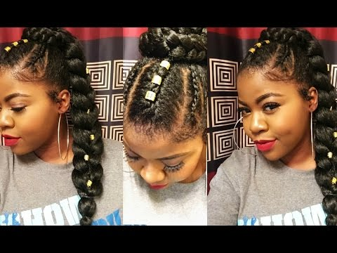 Sleek Ponytail With Braiding Hair