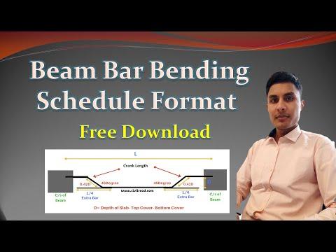 Beam Bar Bending schedule Excel