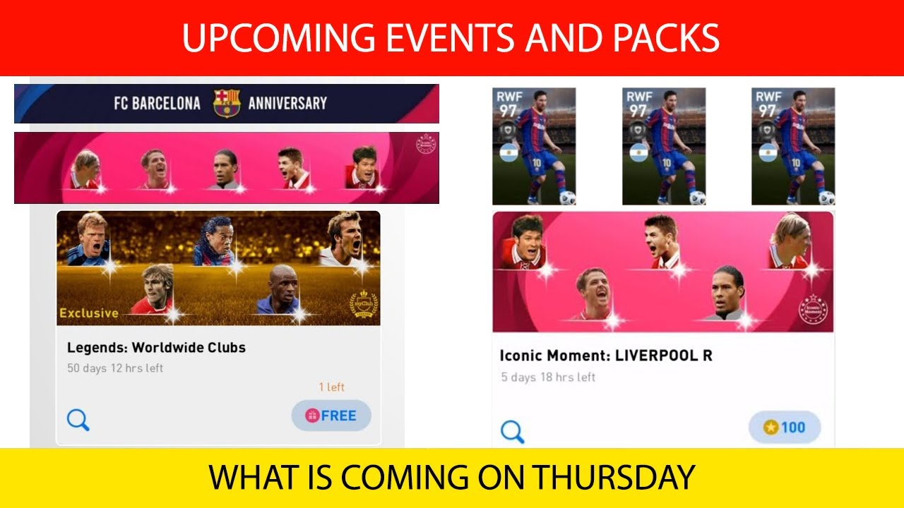 THURSDAY UPCOMING PACKS AND EVENTS