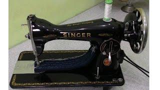 Máquina Singer 15C costurando 8 camadas de jeans