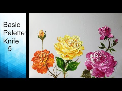 Paint Rose flowers with Acrylic Paints and a Palette Knife - Basic Acrylic Techniques - Episode 5