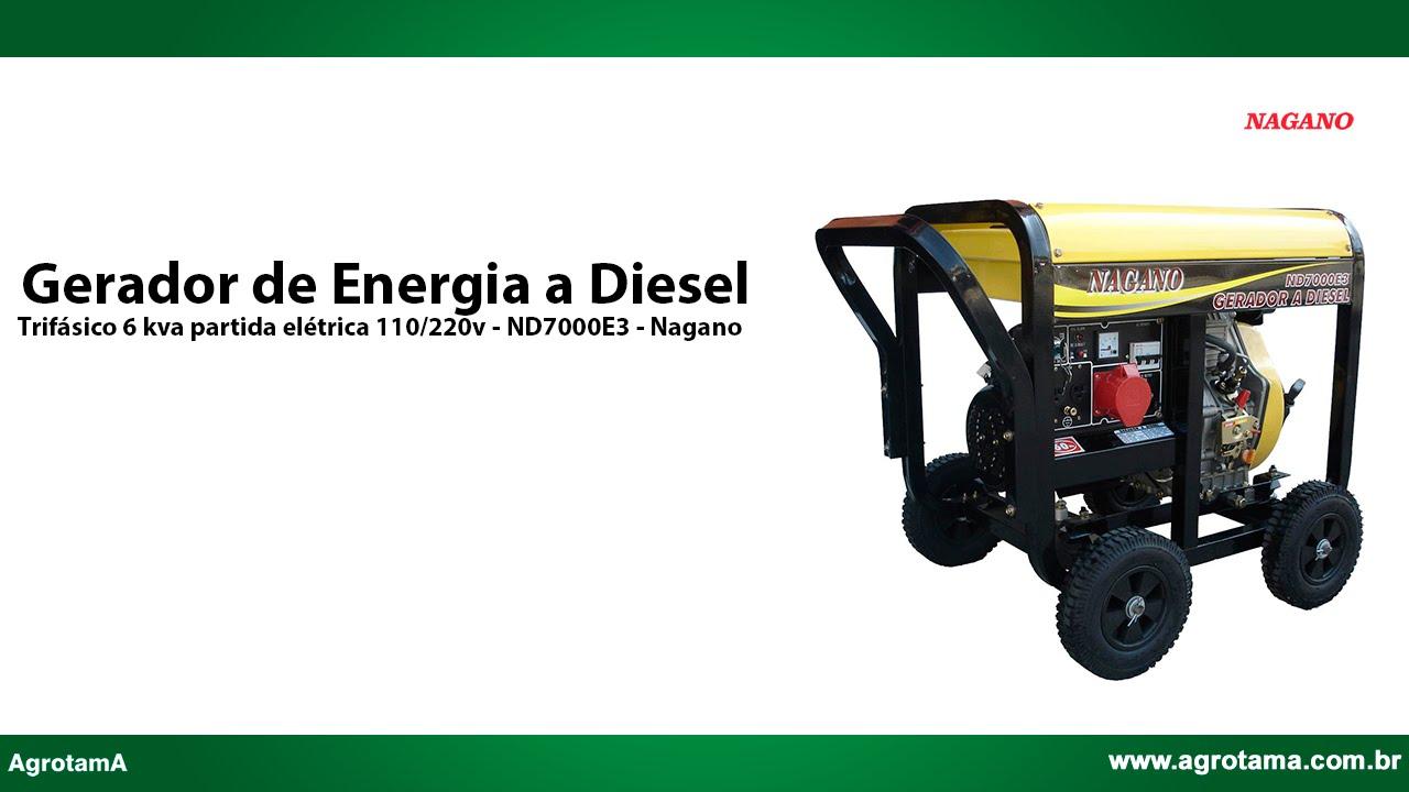 af8e43c2ba2 Gerador de Energia a Diesel Trifásico 6 kva partida elétrica 110 220v -  ND7000E3 - Nagano