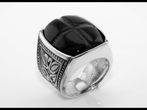 Handmade Gold Ring - Silver ring for Men with onyx stone Han