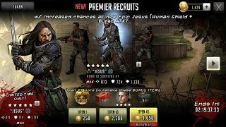 Walking Dead: Road To Survival - Epic Human Shield Badass Jesus 45 Pack Opening + 5 Gateway Tokens!!
