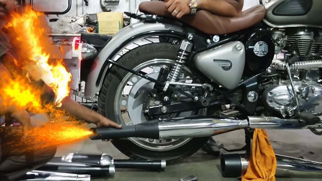 Royal Enfield Swagman silencer - King Indian - YouTube