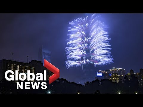 Taiwan celebrates arrival of 2019 with fireworks off Taipei 101 tower