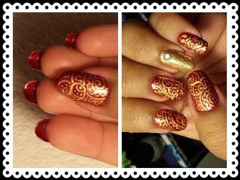 Indian Bridal Nails:Red N Gold Paisley Prints With Louboutin Tips - YouTube - Indian Bridal Nails:Red N Gold Paisley Prints With Louboutin Tips
