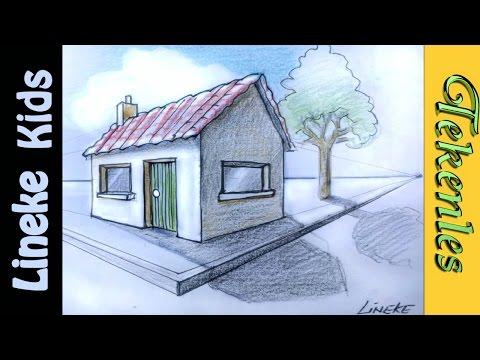 Hoe teken je een huis in perspectief / tekenles #33