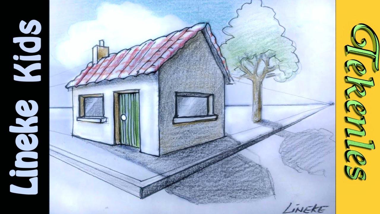 3d tekenen teken huis in perspectief in stappen voor