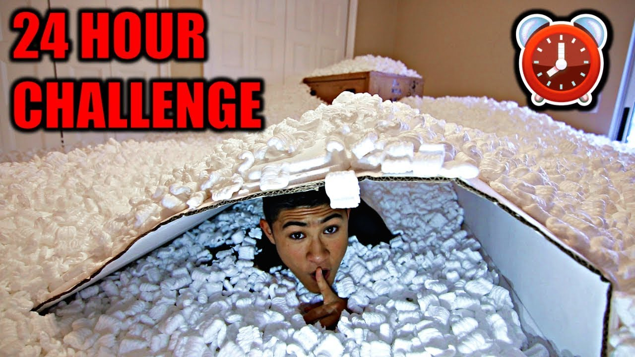 Overnight In 1 000 000 Packing Peanuts 24 Hour Challenge