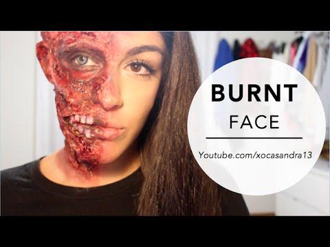Burnt Face Special FX Halloween Makeup - YouTube