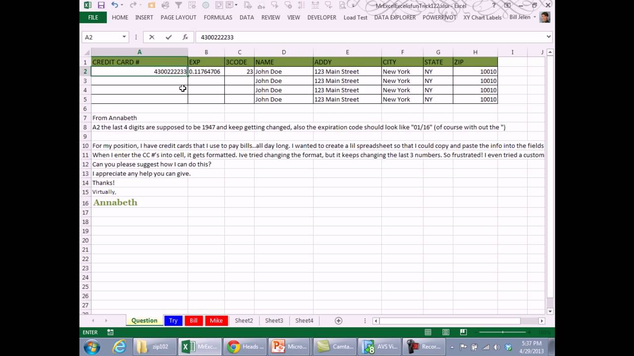 Mr Excel & excelisfun Trick 20 Entering Credit Card Numbers With More  Than 20 Digits