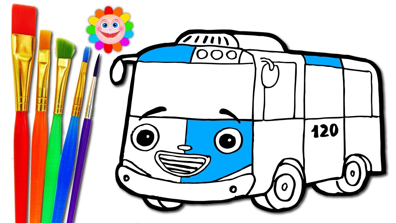 Drawing city bus coloring pages how to draw tayo the little bus