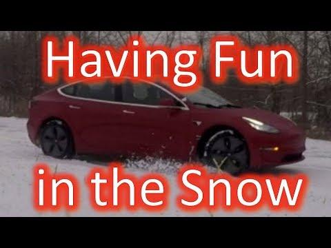 Tesla Model 3 Single Motor Rear Wheel Drive In The Snow 1080p