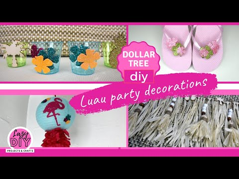 DOLLAR TREE Diy Luau Party Decor // *cute*