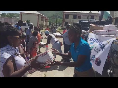 Hurricane victims in US Virgin Islands receive thousands of boxes with supplies