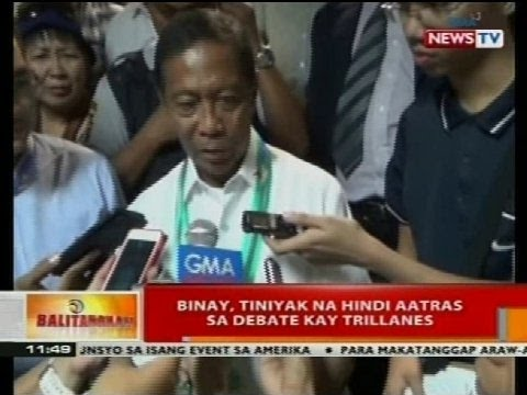 BT: Binay, tiniyak na hindi aatras sa debate kay Trillanes