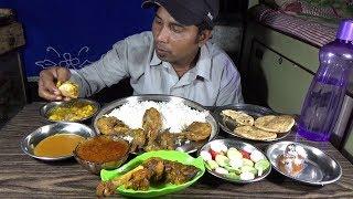 Eating Mutton Leg | Chicken Leg | Rice - Puri & Potato Curry | Huge Eating Show