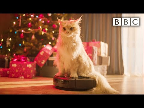 9 hours of Christmas Cat on a robot hoovering #XmasLife - BBC