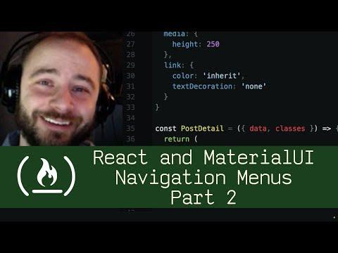 React and MaterialUI Navigation Menus Part 2 (P5D24) - Live Coding with  Jesse