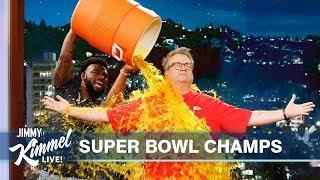 Damien Williams & Eric Stonestreet Celebrate Chiefs Super Bowl Win