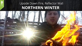 Upside Down Fire, Super Shelter, Winter Camping Overnighter - Northern Winter -  Bushcraft Heroes