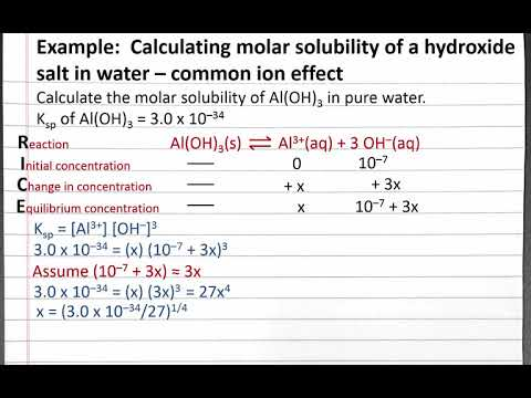 CHEM 201: Calculating Molar Solubility Of A Hydroxide Salt In Water – Common Ion Effect 3
