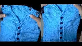 Colete aberto em tricô para bebê