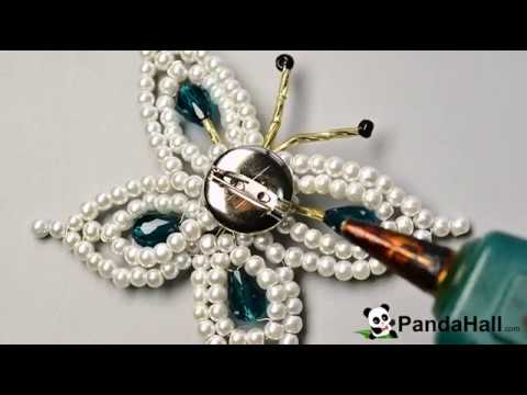 d18bbd04611d Cómo hacer broche de mariposa de perla paso a paso  - YouTube