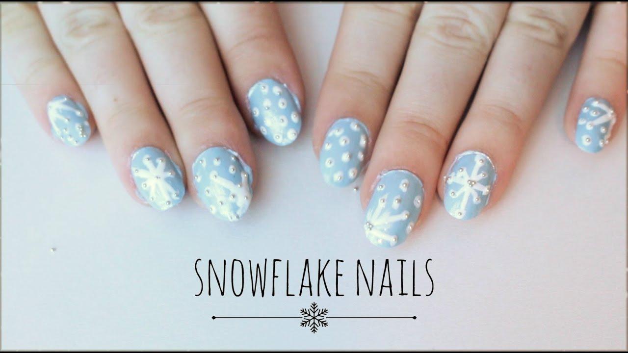 Easy Snowflake Nails Holiday Nail Art Tutorial Youtube