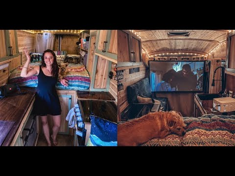 VAN TOUR | Solo female vanlifer has an oven and home theater in her cozy Transit cabin build!