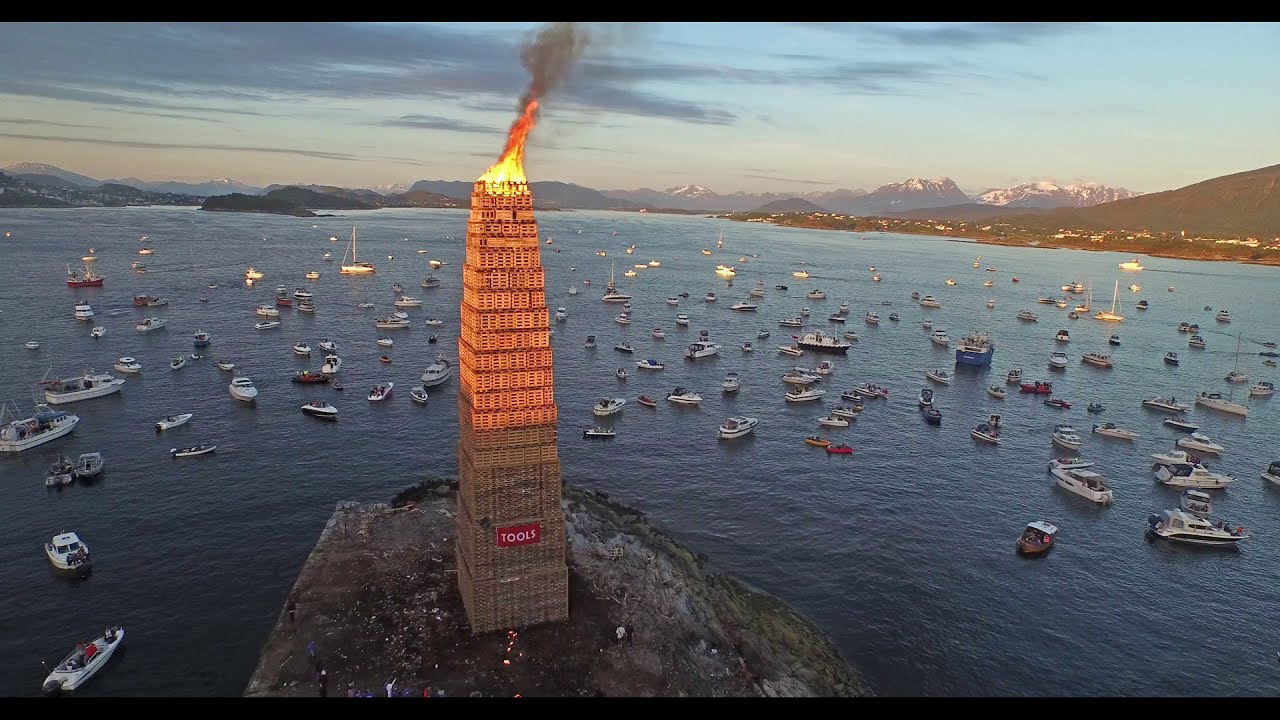 How We Lit The Worlds Tallest Annual Bonfire Slinningsbålet - Norway creates biggest bonfire world