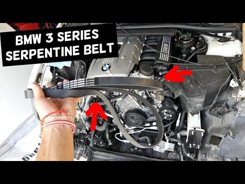 bmw e90 serpentine belt replacement diagram 325i 328i e91 e92 e93 323i  325xi 328xi - youtube