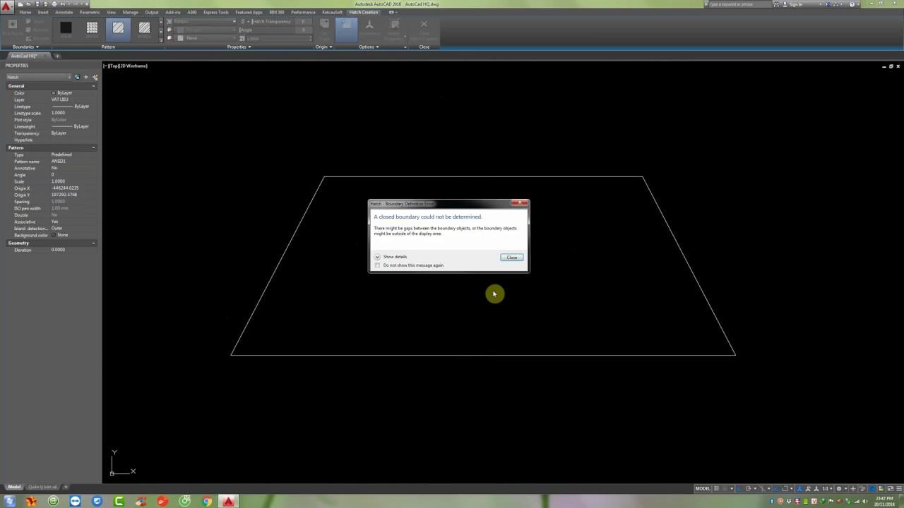 Cách khắc phục triệt để lỗi không thể Hatch được trong AutoCad