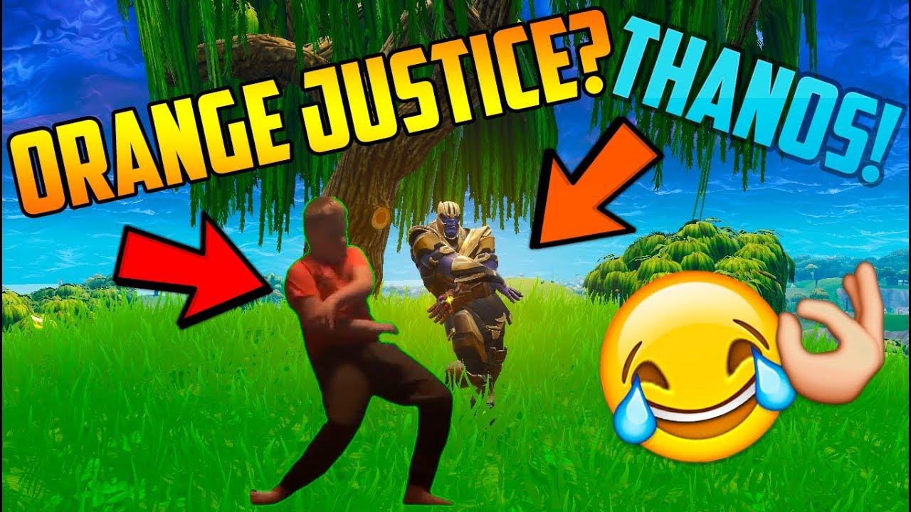 Fortnite Thanos Dancing Orange Justice Youtube