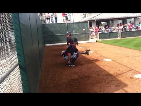 Joe Mauer catches Twins pitchers, takes batting practice