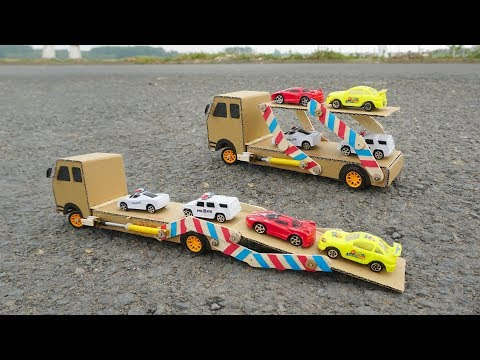 How to make a remote control car Carrier Truck at home from Cardboard (Include Loading | Unloading)