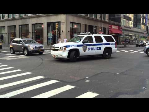 NY & NJ PORT AUTHORITY POLICE DOING YOUIE WHILE PATROLLING ON WORTH ST. IN CIVIC CENTER, MANHATTAN.