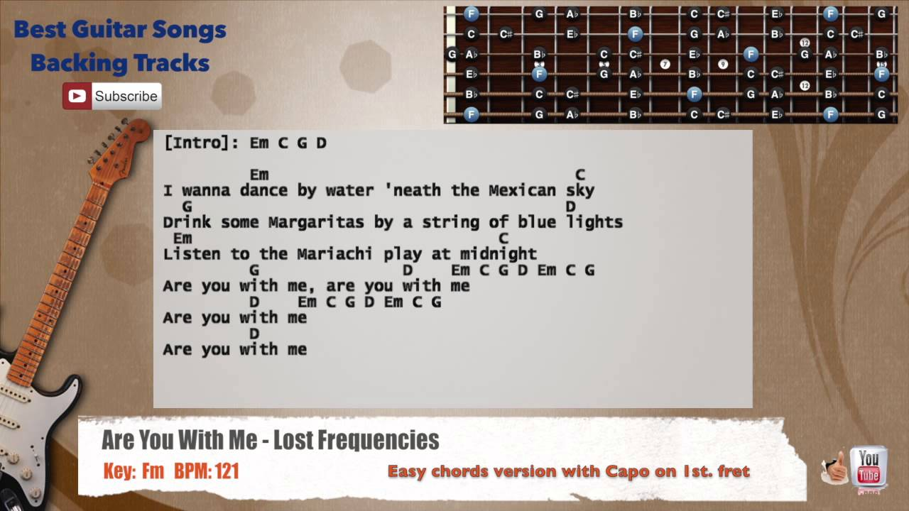 Are You With Me - Lost Frequencies Guitar Backing Track with scale, chords and lyrics - YouTube