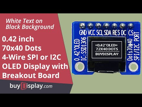 Connect SPI I2C White 0.42 inch OLED Display 72x40 to Arduino/Raspberry Pi with Library,Example