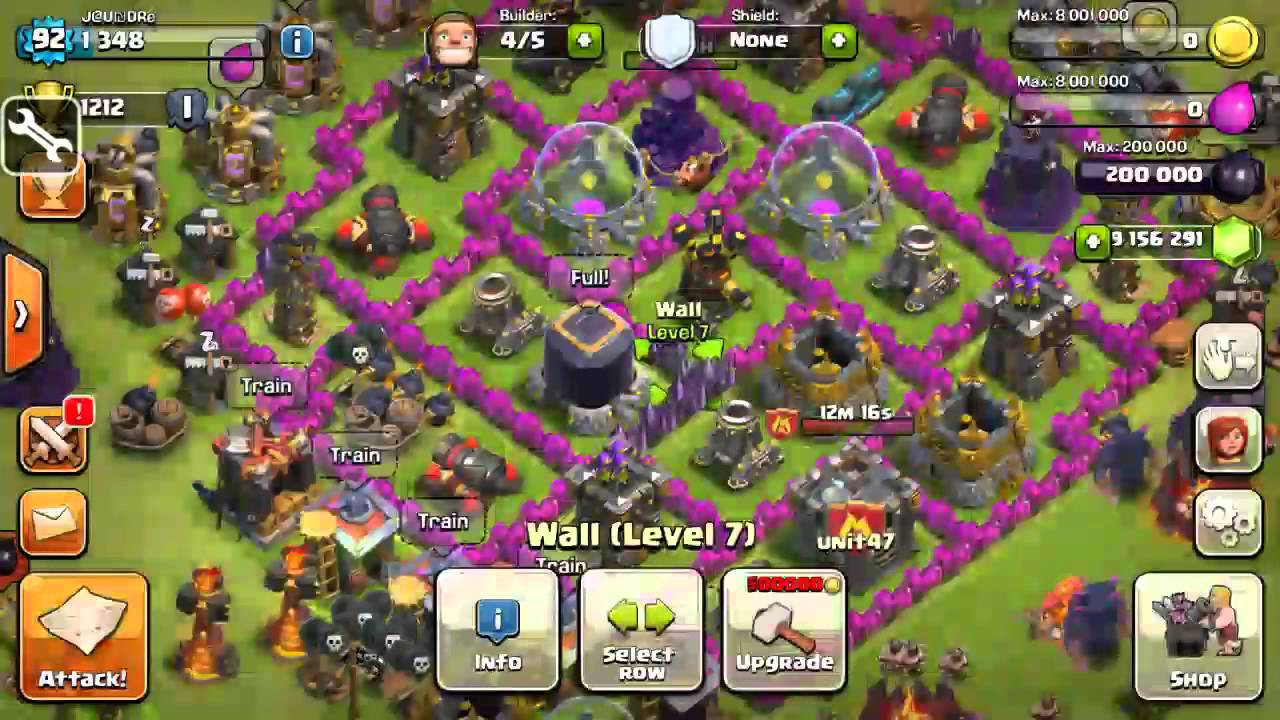 Clash Of Clans Hacked Game Play Unlimited Gems Youtube