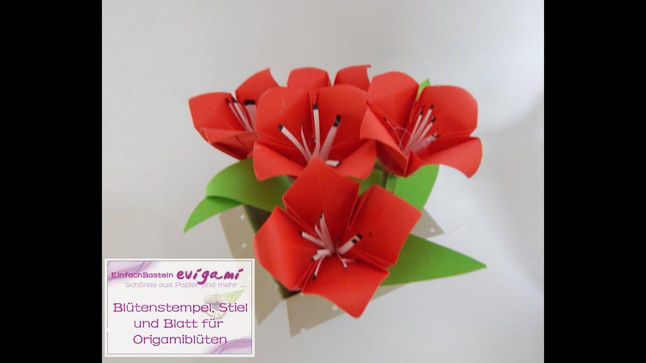 die origamibl te bekommt bl tenstempel blatt und stiel aus papier youtube. Black Bedroom Furniture Sets. Home Design Ideas