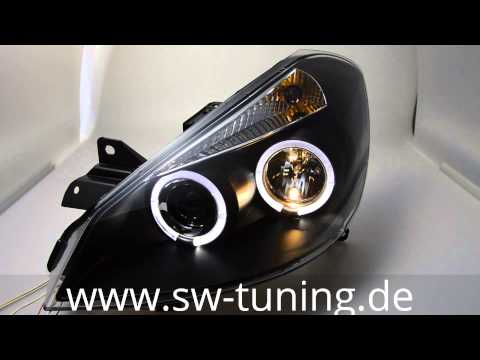 angel eye scheinwerfer f r renault clio iii black led standlichtring sw tuning youtube. Black Bedroom Furniture Sets. Home Design Ideas