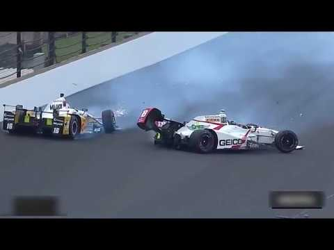 INDY 500 2017 MULTIPLE CRASH INCIDENT, ORIOL SERVIA AND OTHERS