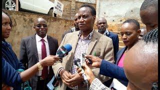 Lands CS Jacob Kaimenyi makes an impromptu visit at the Nyeri lands office