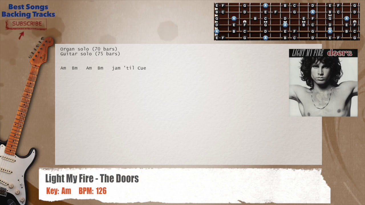 Light My Fire The Doors Guitar Backing Track With Chords And
